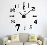 современные самоклеящиеся настенные часы оптовых-Акриловые DIY настенные часы самоклеящиеся внутренних стен творческий украшения часы наклейка современные стены значный номер