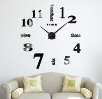 ingrosso orologi da parete acriliche-Orologio da parete acrilico fai-da-te Parete interna autoadesiva Decorazione creativa Orologio da muro Decalcomania da parete moderna