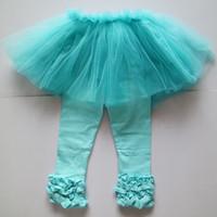 ingrosso collant blu bambino-Abbigliamento per bambina Pretty in Aqua Blue Tulle Tutu Set completo di abiti da donna Aqua Blue Glamour Tights