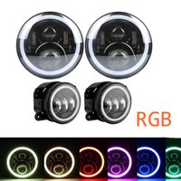 Wholesale 4.7 inch cell phone resale online - 7 Inch RGB Halo Cree LED Round Multi Color Headlights Pair Inch RGB Halo Cree LED Fog Lights for Jeep Wrangler JK TJ Cell Phone APP