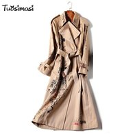 хаки цветное пальто оптовых-2018 wind coat new graffiti printing coat  Long Khaki color adjust belt double breasted Trench overcoat (B025)