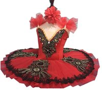 ingrosso costume cigno adulto-New Sequin Professional Ballet Tutu Skirt Red Child Adulto Swan Lake Ballet Dance Costumes per ragazze Pancake Tutu