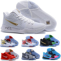 Wholesale Blue Stretch Lace Fabric - Cheap Kyrie 3 Basketball Shoes Men Cheap Orange Crossover Huarache Cavs Kyrie Irving 3s III Basketball Sports Shoes Replicas Sneakers Size 5