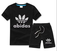 Wholesale Infant Clothes For Boys - HOT SELL 2017 New Style Children's Clothing For Boys And Girls Sports Suit Baby Infant Short Sleeve Clothes Kids Set 2-13 Age