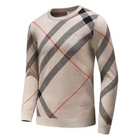 Wholesale hand knitted clothes - 2018 Latest embroidery Winter men's Casual Sweater Brand Clothing Long Sleeve Mens Sweaters classic Shirt Pullover O-Neck Knitwear B8803