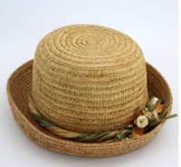 Roundlet cap lafite straw small and pure and fresh spring summer travel is  short sun knitting hat can fold b645d522b674