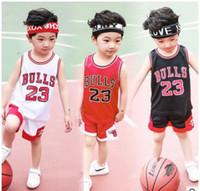 marcas para crianças venda por atacado-Brand new crianças clothing cesta set bola da criança do menino meninas verão casual sports 2-piece set adolescente cesta bola tee calções frete grátis