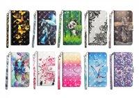 iphone kapak kılıfları pandalar toptan satış-3D Kelebek Panda kaplan Dantel Çiçek Flip Kapak Kart KIMLIĞI Askısı Deri Cüzdan Kılıf iphone XS MAX XR 7 8 6 S ARTı Samsung S8 S9 ARTı NOTE9