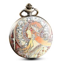 modern portreler toptan satış-Modern Boyalı Güzellik Portre Cep Saatleri Zincirler Vintage Kişiselleştirilmiş mucha Cebi Kadın Erkek Hediyeler Reloj De Bolsillo