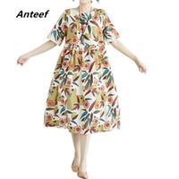 длинные платья из хлопка летние оптовых-Anteef cotton linen vintage floral print clothes women casual loose long summer dress vestidos femininos 2018 dresses