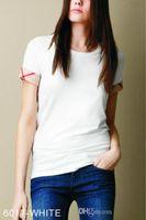 siyah boyun gömlekleri bayanlar toptan satış-2018 Yeni Yaz Bayan Marka% 100% Pamuk Tişörtleri Moda Ekose Kısa Sleece O-Boyun Bayanlar Tops Tees Siyah Beyaz kadın T-Shirt S-XXL