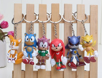 Wholesale sonic movie toys for sale - 6pcs set int cm SEGA sonic the hedgehog Figures toy silicone keychain sonic Characters D key chain