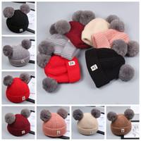 Cappello a maglia per bebè Cappellino per cappelli in lana con cappuccio e  pelliccia di volpe Cappuccio per cappelli in pelliccia per bambini dc7b719613f9