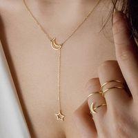 altın gümüş boğucu toptan satış-Moda Kolye Gerdanlık Kolye Ay Yıldız Altın Gümüş Renk Alaşım Zincir Yaka Kolye Kadınlar Için Parti Takı
