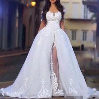 abnehmbares schulter-spitzenkleid abnehmbar großhandel-2019 Elegante Brautkleider mit Überrock Schulterfrei Langarm Spitze Brautkleider mit abnehmbarem Zug