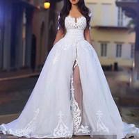 desmontagem fora do ombro vestido de renda venda por atacado-2019 vestidos de noiva elegante com overskirt fora do ombro manga comprida vestidos de noiva lace com trem destacável