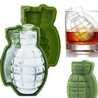 Wholesale whiskey tray - 3D Grenade Shape Ice Cube Mold Silicone Ice Cream Maker Party Whiskey Wine Ice Tray Creative Kitchen Tool YW752