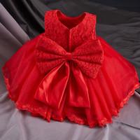 yaz için bebek vaftiz önlükleri toptan satış-Yaz Bebek Kız Vaftiz Elbisesi Bebek Prenses Elbise 1st Doğum Günü Kıyafetleri Çocuk Çocuk Parti Elbise Kız Resmi Vestido Giymek