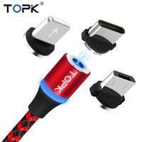 led cable оптовых-TOPK R-Line3 LED магнитный кабель USB Тип C микро кабель Магнит зарядное устройство кабель для iPhone X 8 7 6 Plus USB-C тип-C