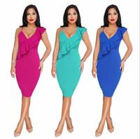 cb5748e55d Wholesale wear pencil skirt clubbing resale online - 2018 Sexy V Neck Women  Casual Dresses Oblique