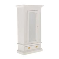 meuble chambre à coucher blanche achat en gros de-VENTE CHAUDE Échelle 1:12 Dollhouse Miniature Chambre Meubles Vêtements Penderie avec Ouverture Miroir Porte Tiroir Nouveau Blanc