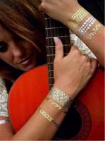 altın flaş takı toptan satış-Altın Ve Gümüş Geçici Metalik Takı Dövmeler Flaş Altın ve Gümüş Folyo Dövmeler Noel Hediyesi LJJM49