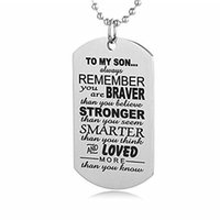 Wholesale amazing christmas gifts - Stainless Steel Invigorative Words Necklace For Son Best Gift For Father To Son Always Remember To My Son Necklace Amazing Gift