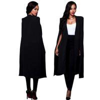 ingrosso mantello nero delle donne-Primavera Autunno Donna lungo capo Blazer e giacche 2018 New Black White Runway Cloak Outerwear manica lunga drappeggio