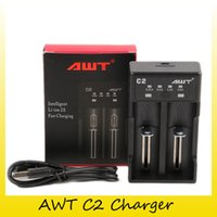 Wholesale battery fast charger - 100% Hight Quality AWT C2 Battery Charger Dual Slot 2A Intelligent Fast Charging Device for 18650 20700 21700 Batteries DHL
