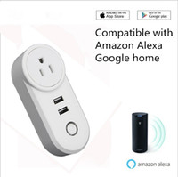 Wholesale WIFI Smart Plug Socket USB port Compatible with Amazon Alexa Google home phone APP Voice Remote Control EU US UK Plug Timing function