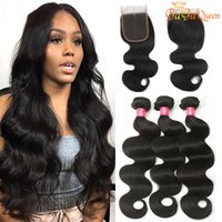 Wholesale grade 8a human hairs for sale - Group buy Gaga queen Brazilian Body Wave Hair Bundles With x4 Lace Closure Grade A Lace Closure With Human Hair Bundles Body Wave