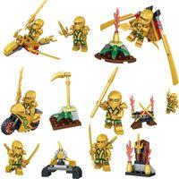 Wholesale Mini Ninjas - 24pcs lot Gold Ninja Figures with Weapons Minifig Cole Kai Jay Lloyd Nya Skylor Zane Figures Ninja Mini Building Blocks Figures Toys