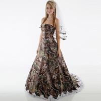 Wholesale sash brush online - Camo Wedding Dresses Strapless Corset Camouflage Country Wedding Gowns Brush Train Bridal Dresses with Removbale Sash