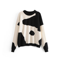 Wholesale cow clothing for sale - 2018 women clothing long sleeve milk cow pattern relaxed sweater knitted Tops Female casual loose pullovers cotton jumpers W2481
