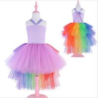 ingrosso zucca di halloween-Rainbow Unicorn Tutu Abito in tulle con cerchio di capelli Principessa Flower Girls Party Dress Bambini Bambini Costume di Halloween Pumkin 2-10Y