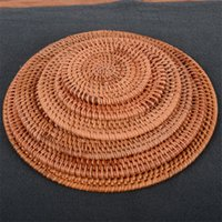 Wholesale hand made round mats for sale - Group buy Pratical Teapot Bowl Pad Natural Hand Made Rattan Coasters Household Cup Mat Hotel Home Supplies Tea Tools pw6 ii