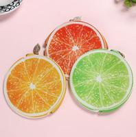 mini bolsa de regalo naranja al por mayor-Nuevo Diseño Fruta Monedero Creativo Mujeres Naranja Limón Carteras Regalos de los niños Mini Bolsas Mujer Monedero de la cremallera Monedero Carteras Bolsa