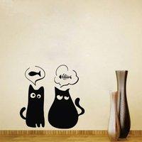 katzeentwurfstapetenaufkleber großhandel-Nette Katze Wandaufkleber Wanddekorationen Wohnzimmer Tiere Wandtattoos Vinyl Art Sticker Wallpaper