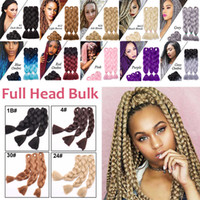 Wholesale gray hair braiding resale online - Solid Color g pc Synthetic Kanekalon Braiding Hair Crochet Box Braids Hairstyles Hair Extensions Silver Gray Black Pink Blue Hair