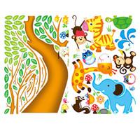 виниловые наклейки оптовых-Бесплатная доставка обезьяна Сова животных дерево мультфильм виниловые наклейки для детей номеров Home decor DIY ребенок обои искусство наклейки украшения дома