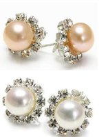 Wholesale akoya pearl studs for sale - Group buy New mm Natural white Pink Akoya Freshwater Pearl Sterling Silver Stud Earrings