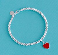 perlen blaue tasche großhandel-925 Sterling Silber Armband Rot Herz Anhänger Perlen Armbänder Frauen Ornament Schmuck Hochzeitsgeschenk mit Blue Gift Box Bag Card