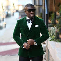 Wholesale tie light green jacket men for sale - Group buy Brand New Green Velvet Groom Tuxedos Double Breasted Groomsman Wedding Piece Suit Fashion Men Prom Jacket Blazer Jacket Pants Tie