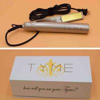 Wholesale Wholesale Ceramic Hair Straighteners - 2in 1 TYME Hair Straightener Flat Iron Brush Ceramic Hair Straighteners Straightening Curling Irons Hair Curler Styling Tools Fashion Beauty