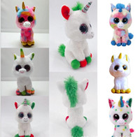 Wholesale ty toys for sale - 17cm Ty Beanie Boos Plush Toy Unicorn Plush Stuffed Animal Toy Christmas Gift Collectible Soft Big Eyes Doll Toys For Children KKA5806
