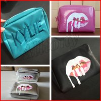 Wholesale Wholesale Birthday Bags - Kylie Jenner Bags Cosmetics Birthday Bundle Bronze Kyliner Copper Creme Shadow pink green silver Makeup Bag