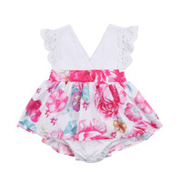 bebek hattı romper elbisesi toptan satış-Toddle Eşleşen Çocuklar Bebek Kız Çiçek Romper Elbise Dantel Çapraz Patchwork Çiçek Elbiseler Kız Kıyafetler