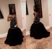 kızlar siyah akşam elbiseleri toptan satış-2018 Sparkly Kristal Boncuk Mermaid Gelinlik Modelleri Sevgiliye Tül Siyah Altın Akşam Parti Törenlerinde Mezuniyet Elbiseleri Afrika Siyah Kız