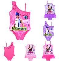 Wholesale baby girls one piece swimsuit - Game Fortnite printing children Swimwear 2018 summer One-Pieces baby girls Cosplay Swimsuit cartoon Bikinis C4741