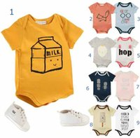 Wholesale baby bottles sets resale online - INS hot Style new cotton baby cartoon Individual house fox pring romper baby short sleeve soft sumer romper sets